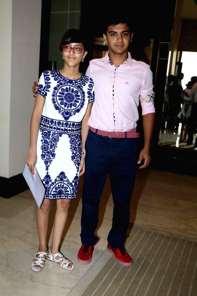 Filmmaker Vidhu Vinod Chopra`s daughter Zuni Chopra and son Agni Dev during the launch of Jaslok hospital`s new wing Jaslok Fertility Tree, in Mumbai, on Aug 15, 2016. - Vidhu Vinod Chopra and Dev