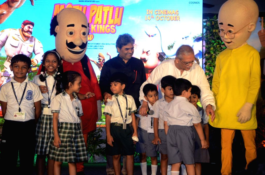 "Filmmaker Vishal Bharadwaj and Lyricist-writer Gulzar during the music launch of upcoming animated film ""Motu Patlu- King of King"" in Mumbai on Oct 4, 2016. - Vishal Bharadwaj"