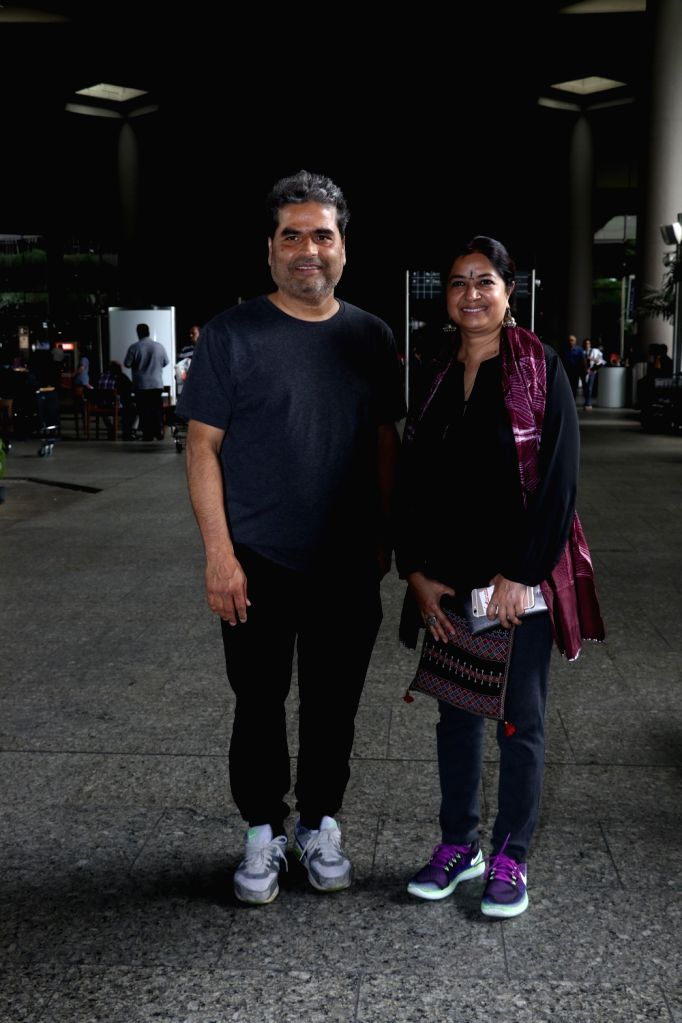 Filmmaker Vishal Bhardwaj with his wife Rekha Bhardwaj spotted at airport in Mumbai, on May 30, 2017. - Vishal Bhardwaj and Rekha Bhardwaj
