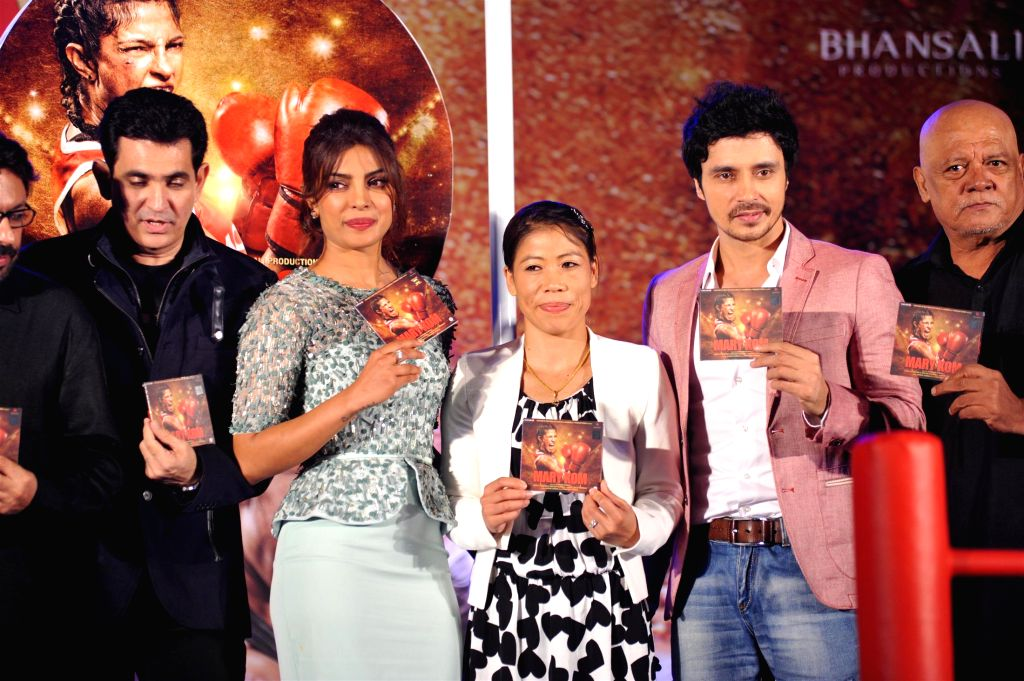 Filmmakers Sanjay Leela Bhansali, Omung Kumar, actor Priyanka Chopra, Indian boxer Mary Kom and actors Darshan Kumar and Sunil Thapa at music event of film Mary Kom in Mumbai on August 13, 2014. - Priyanka Chopra, Sanjay Leela Bhansali, Omung Kumar, Darshan Kumar, Sunil Thapa and Mary Kom