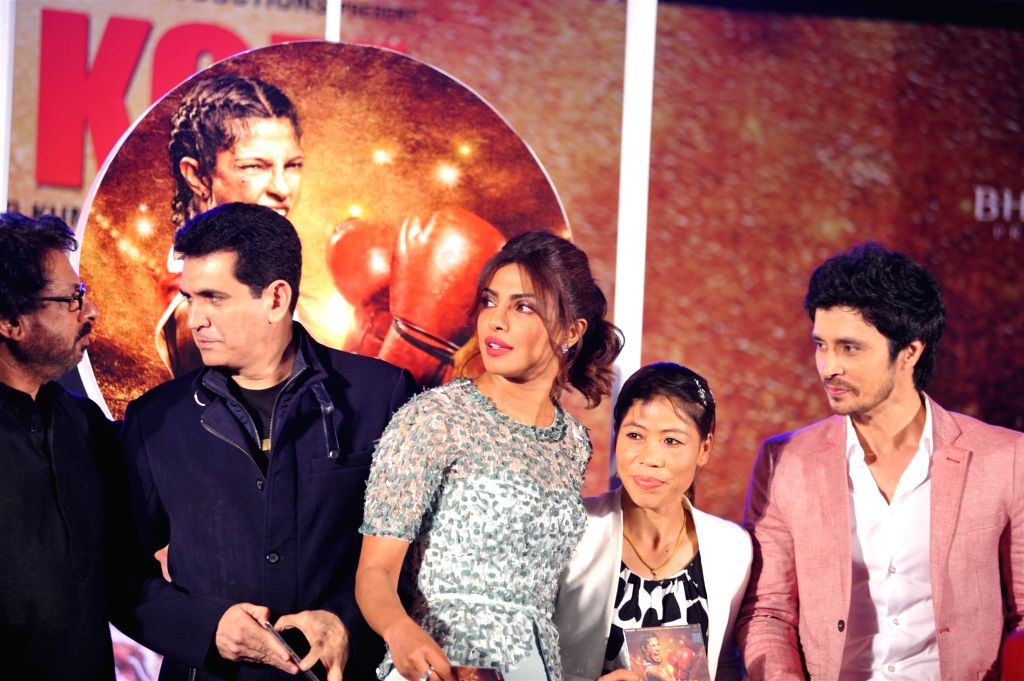 Filmmakers Sanjay Leela Bhansali, Omung Kumar, actor Priyanka Chopra, Indian boxer Mary Kom and actor Darshan Kumar at music event of film Mary Kom in Mumbai on August 13, 2014. - Priyanka Chopra, Sanjay Leela Bhansali, Omung Kumar, Mary Kom and Darshan Kumar