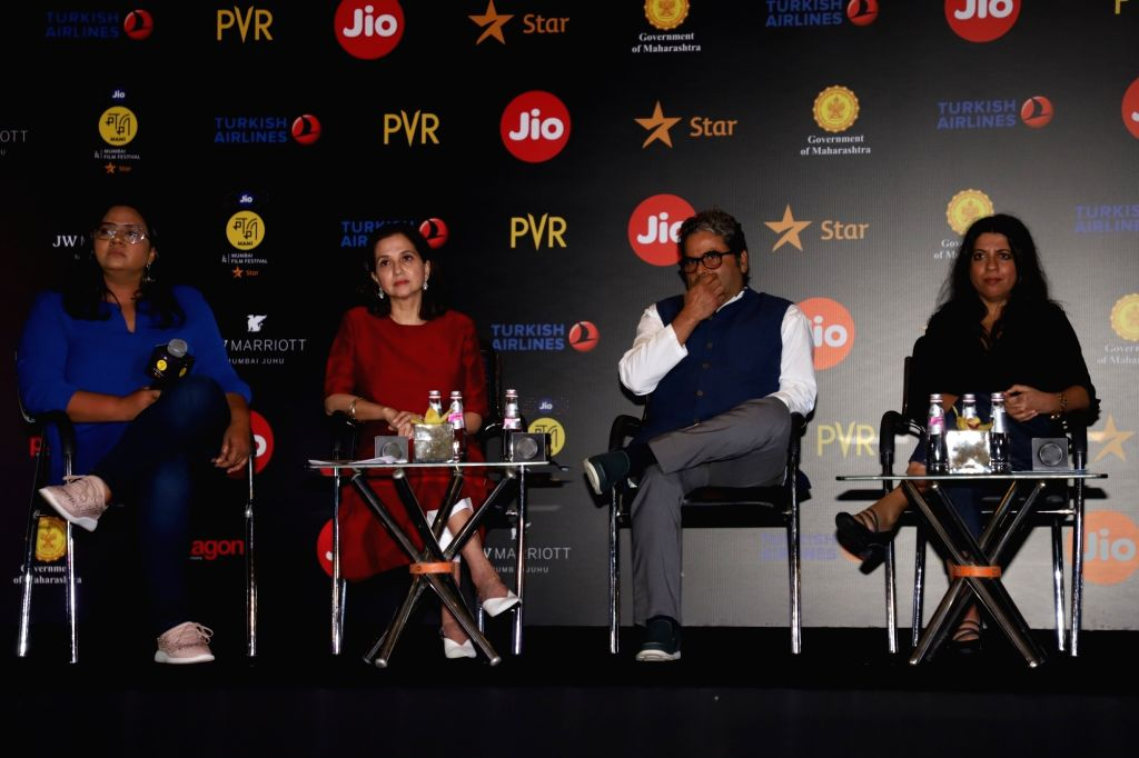 Filmmakers Vishal Bhardwaj and Zoya Akhtar at a press conference during Jio MAMI 21 Mumbai Film Festival 2019, in Mumbai on Sep 30, 2019. - Vishal Bhardwaj and Zoya Akhtar