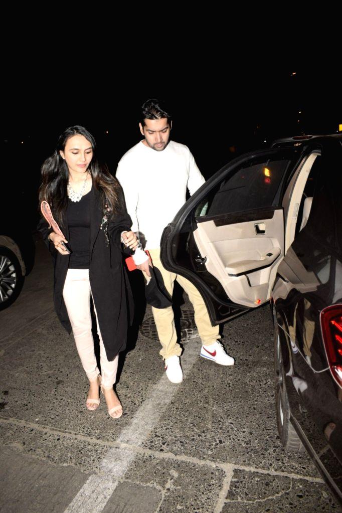 Fimmaker David Dhawan's son Rohit Dhawan with wife seen at Soho house Juhu in Mumbai on Dec 8, 2018.