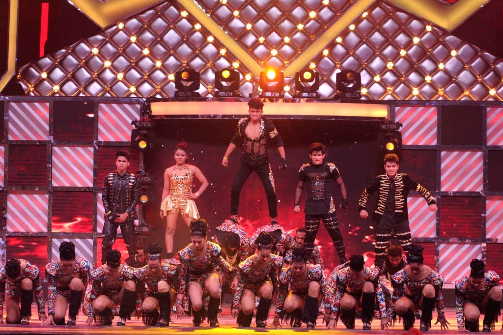 Finalists of dance reality show Dance India Dance L'il Masters Sanket, Shivam, Sachin, Piyush and Naynika perform during the show's Grand Finale in Mumbai on Feb 17, 2018.