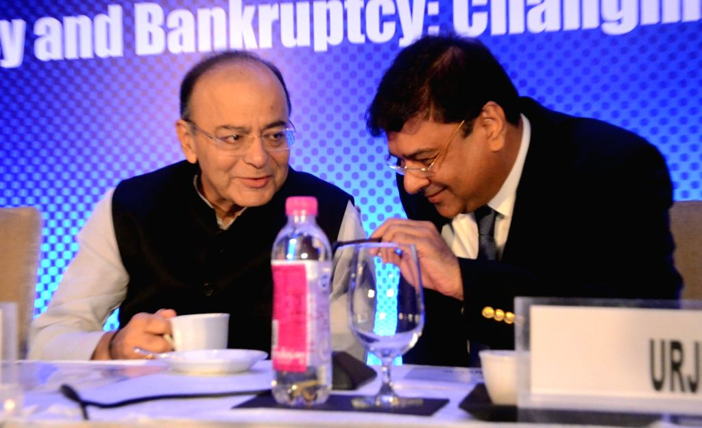 "Finance Minister Arun Jaitley along with Reserve Bank of India Governor Urjit Patel during the ""National Conference on Insolvency and Bankruptcy: Changing Paradigm"" in Mumbai on Aug ... - Arun Jaitley and Urjit Patel"