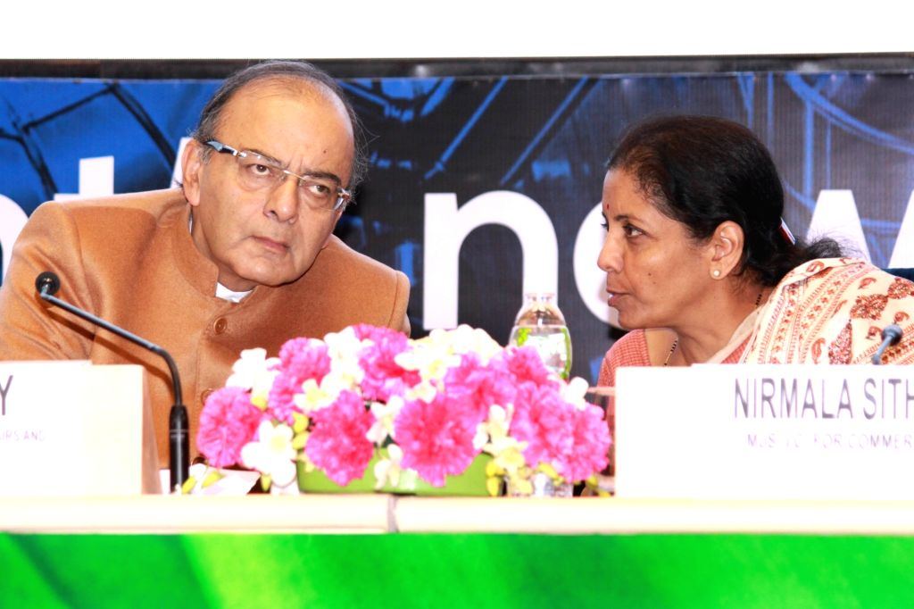 Finance Minister Arun Jaitley and Commerce Minister Nirmala Sitharaman during the opening session of launch of ``Start Up India`` in New Delhi on Jan 16, 2016.