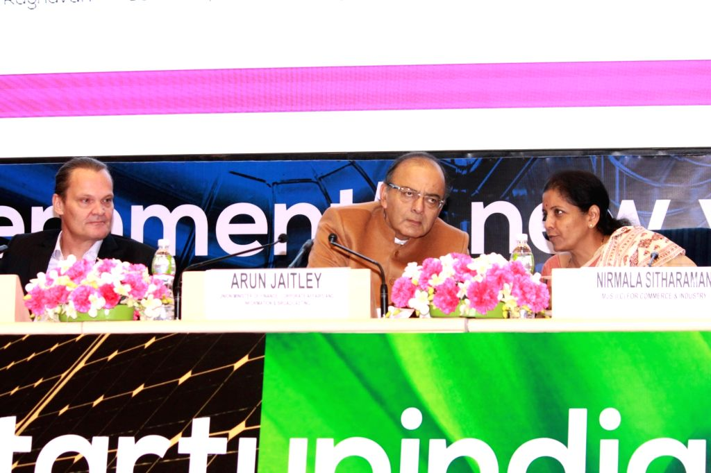 Finance Minister Arun Jaitley, Commerce Minister Nirmala Sitharaman and Country Director World Bank, Onno Ruhl during the opening session of launch of ``Start Up India`` in New Delhi on ...