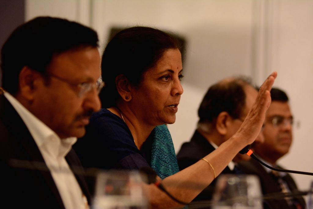 """Finance Minister Nirmala Sitharaman explains the Budget proposals to traders, industrialists, economists and the media during a press conference at """"Jan Jan Ka Budget"""" programme, ... - Nirmala Sitharaman"""