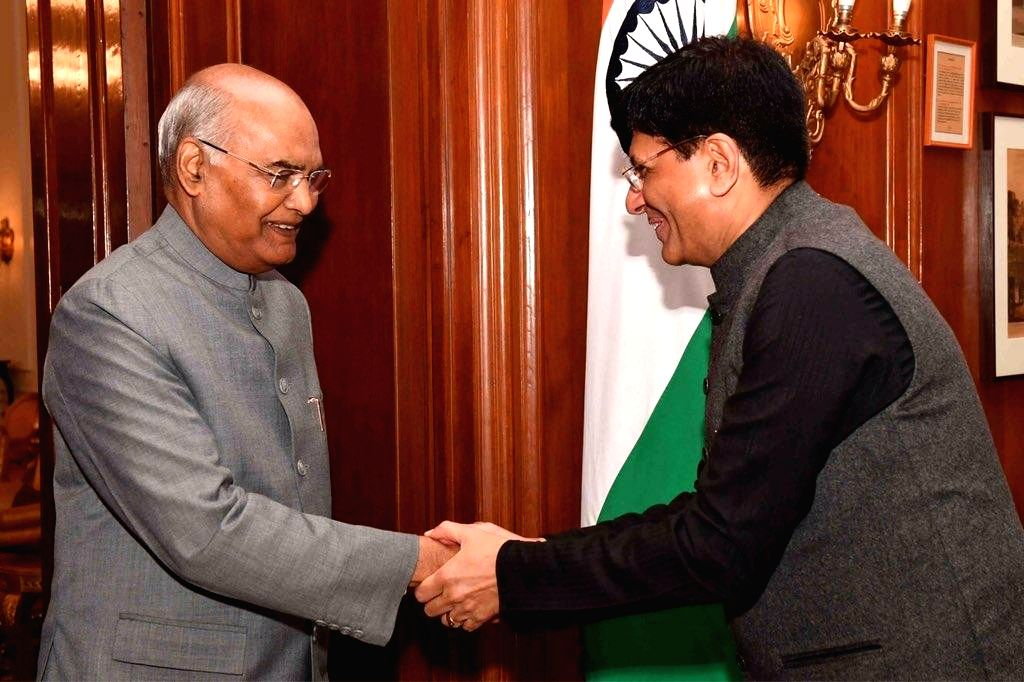 Finance Minister Piyush Goyal calls on President Ram Nath Kovind ahead of presenting the interim budget 2019 in Parliament,  in New Delhi, on Feb 1, 2019. - Piyush Goyal and Nath Kovind