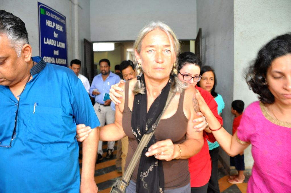 Fiona Mackeown, mother of 15-year-old British teenager Scarlett Keeling who was sexually assaulted and killed on a Goa beach in 2008 comes out of a trial court after the court acquitted both ...