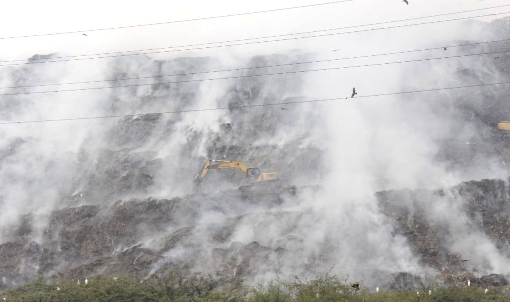 Fire at gazipur landfill in New Delhi on Wednesday