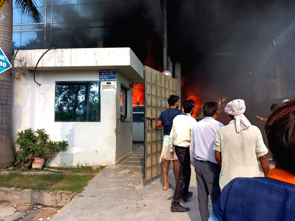 Fire breaks out at a garments factory in Sector 63 of Noida, Uttar Pradesh on May 28, 2019.