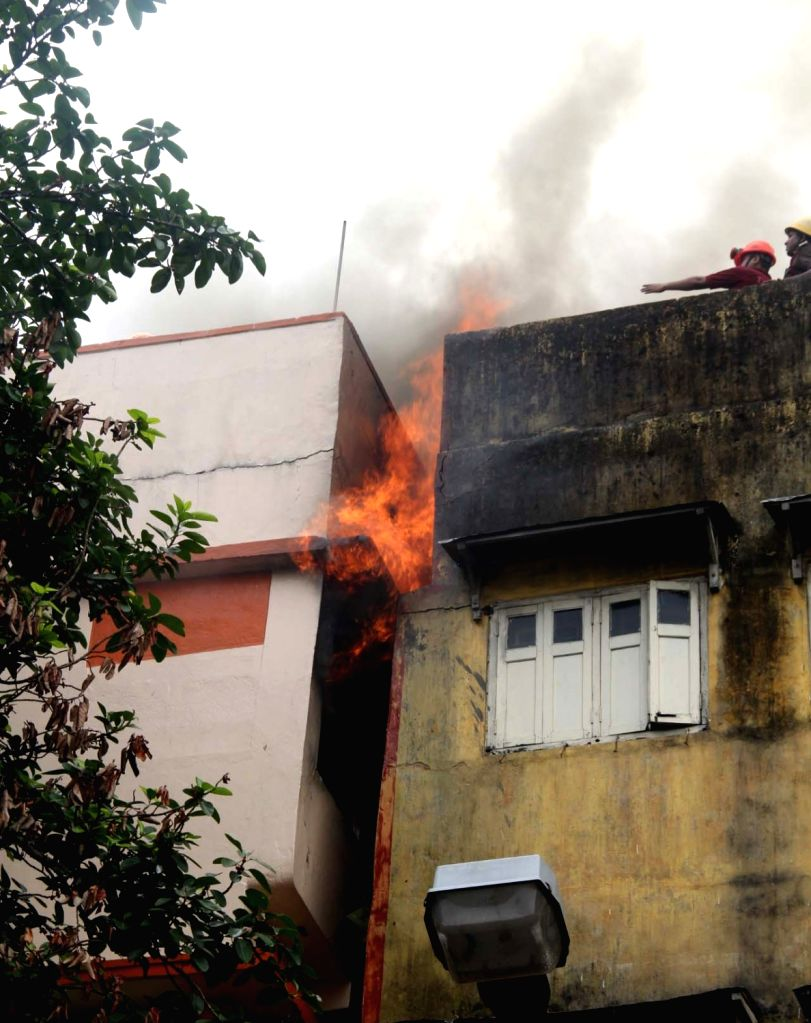 Fire breaks out at a godown in Kolkata on May 23, 2018.