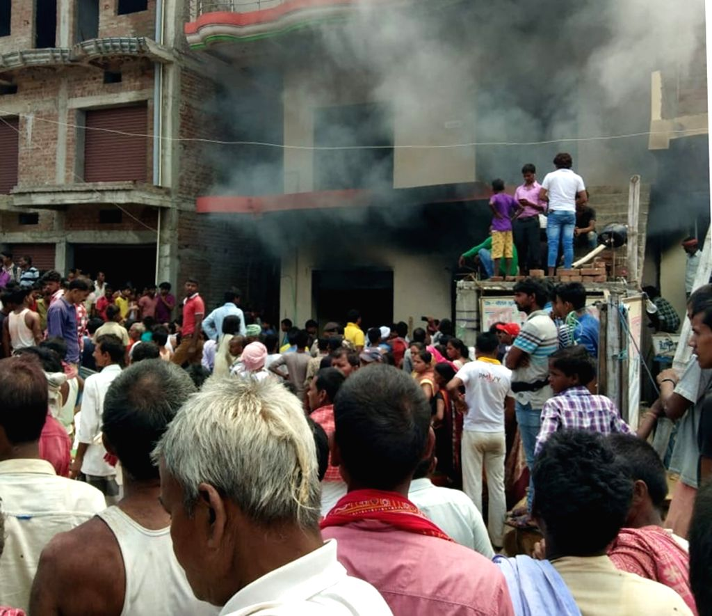 Fire breaks out at a godown in Patna's Sampatchak area, on May 4, 2019.