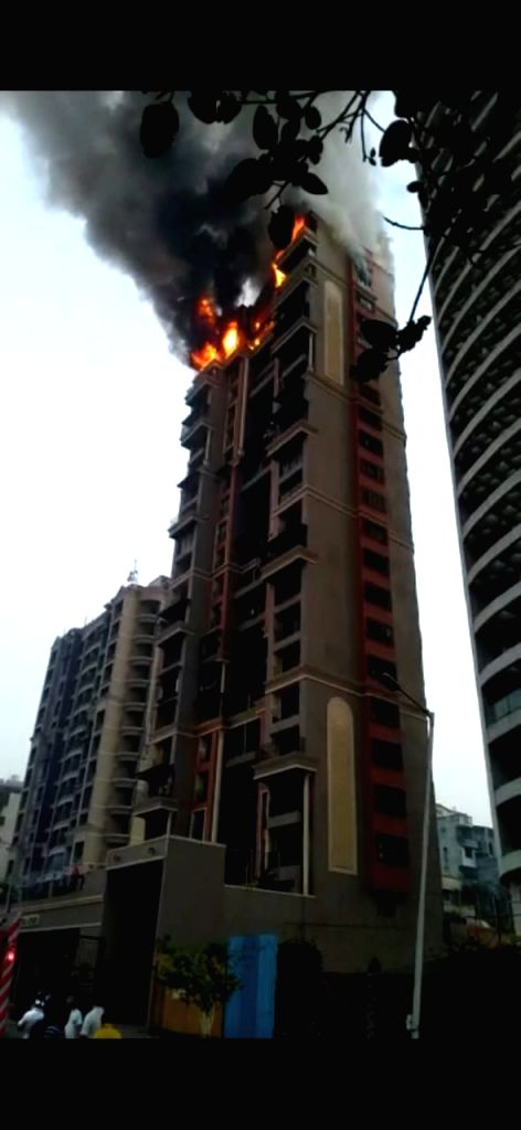 Fire breaks out at a high-rise apartment building at Sector 44, Nerul Seawoods in Navi Mumbai on Feb 8, 2020.