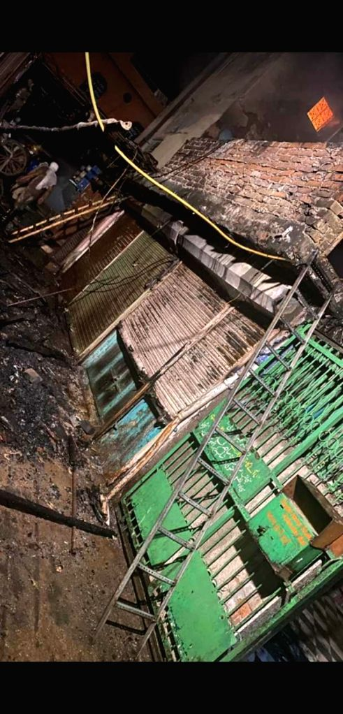 Fire breaks out at a local market near Delhi's Red Fort during the extended nationwide lockdown imposed to mitigate the spread of coronavirus, on May 7, 2020.
