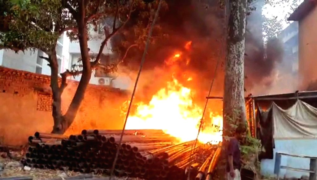 Fire breaks out at a plastic warehouse at Patliputra in Patna during the extended nationwide lockdown imposed to mitigate the spread of coronavirus; on Apr 24, 2020.