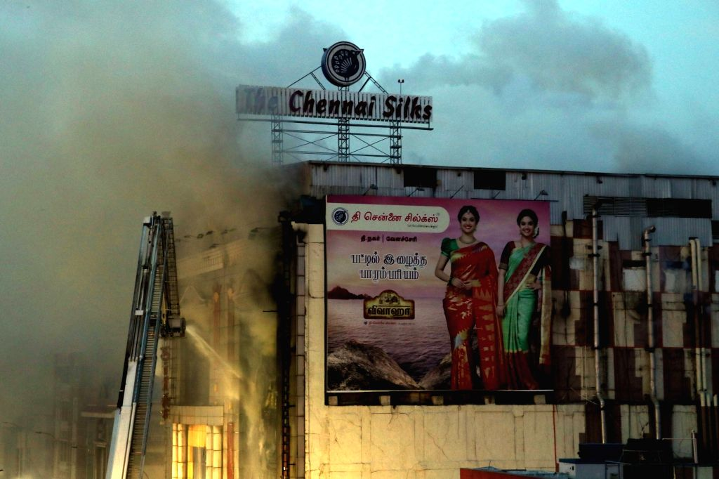 Fire breaks out at a shop in Chennai on May 31, 2017.
