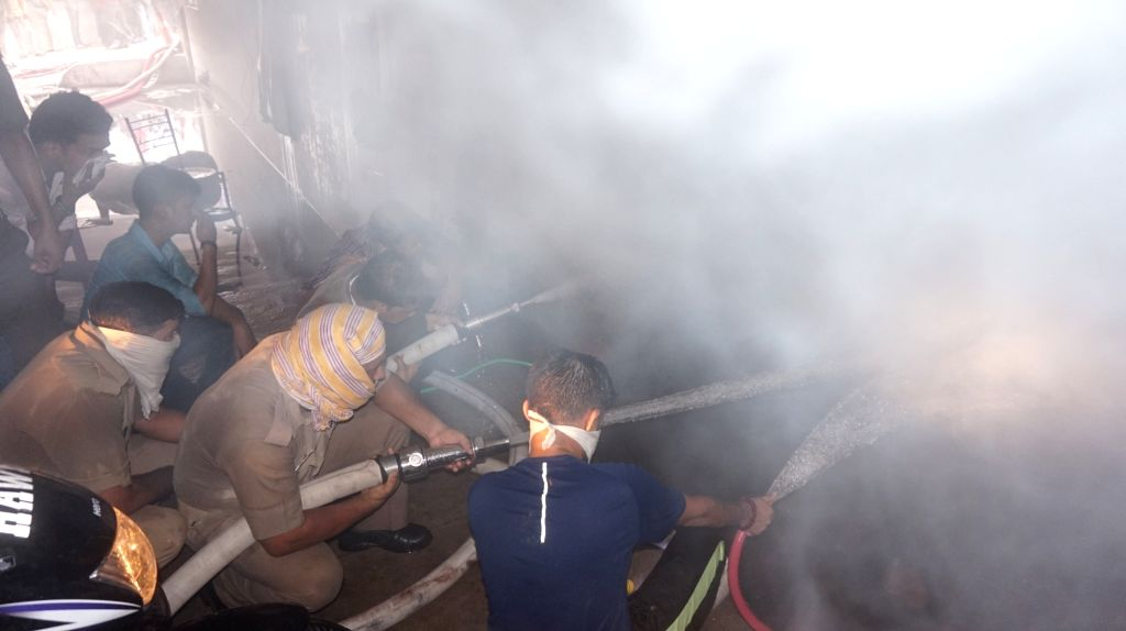 Fire breaks out at a shopping mall in Varanasi on June 23, 2017.