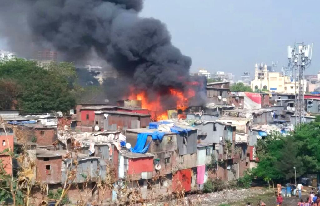 Fire breaks out at a slum in Shastri Nagar area of Mumbai's Bandra, on Nov 27, 2018.