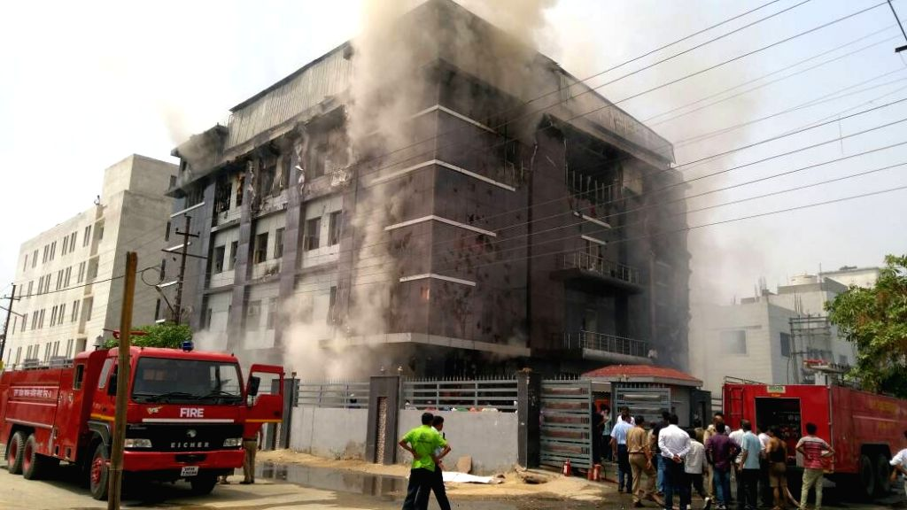 Fire breaks out at a toy factory in Noida on May 9, 2017.