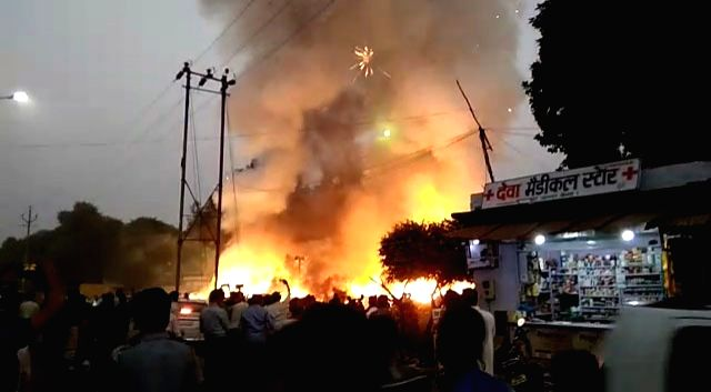 Fire breaks out at Agra's Sultanpur cracker market, on Oct 26, 2019.