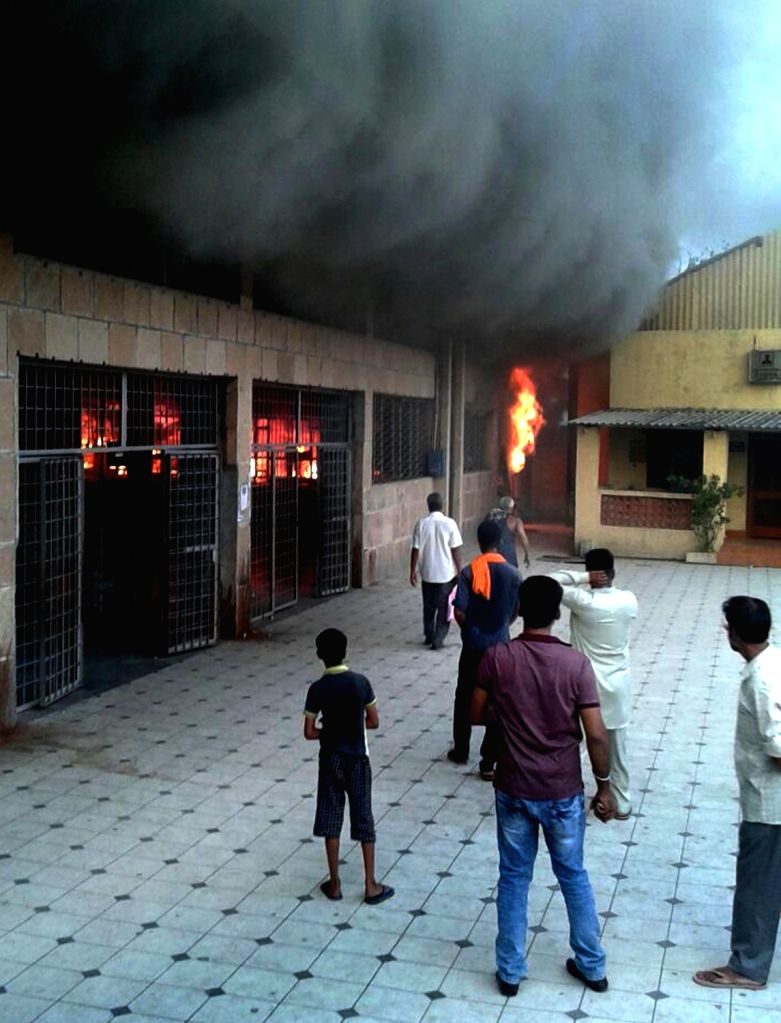 Fire breaks out at reservation counter of Amritsar railway station, on June 30, 2016.