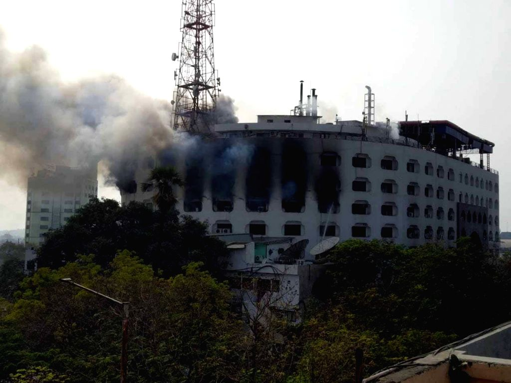 Fire breaks out at the Khan Lateef Khan building in Hyderabad's Basheerbagh, on Jan 23, 2019. - Lateef Khan