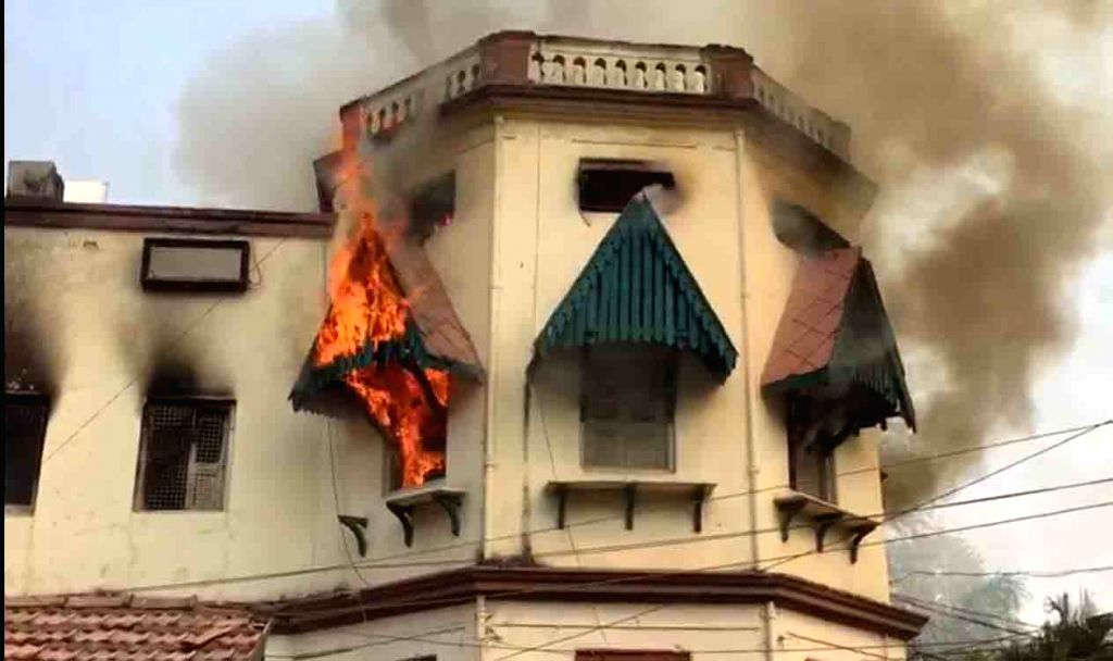Fire breaks out at the record room of Road Transport Authority (RTA) office at Khairatabad in Hyderabad on Jan 24, 2018.