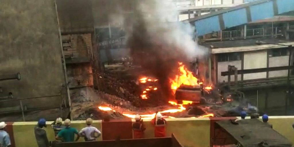 Fire breaks out in a blast furnace at IISCO Steel Plant at Burnpur in West Bengal's Asansol on July 27, 2019.