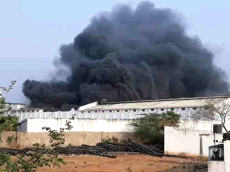 Fire breaks out in a coconut oil factory on the outskirts of Hyderabad on April 1, 2018.