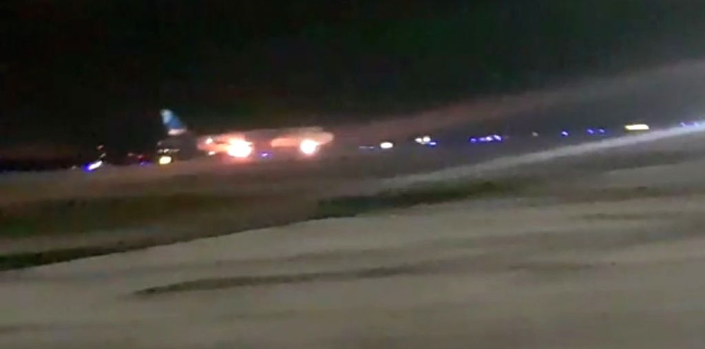 Fire breaks out in an engine of a Jazeera flight from Kuwait during landing at Rajiv Gandhi International Airport in  Shamshabad, Telangana on Aug 2, 2018.