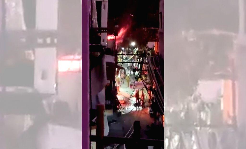 Fire breaks out in Dariyaganj area of New Delhi on Oct 9, 2019.