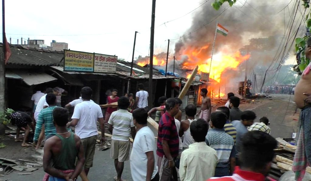 Fire breaks out in Kolkata's New Town on April 10, 2019.