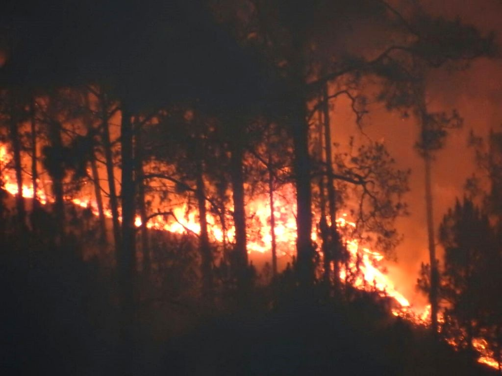 Fire breaks out in the forests of Uttarakhand's Rudraprayag district on May 23, 2018.