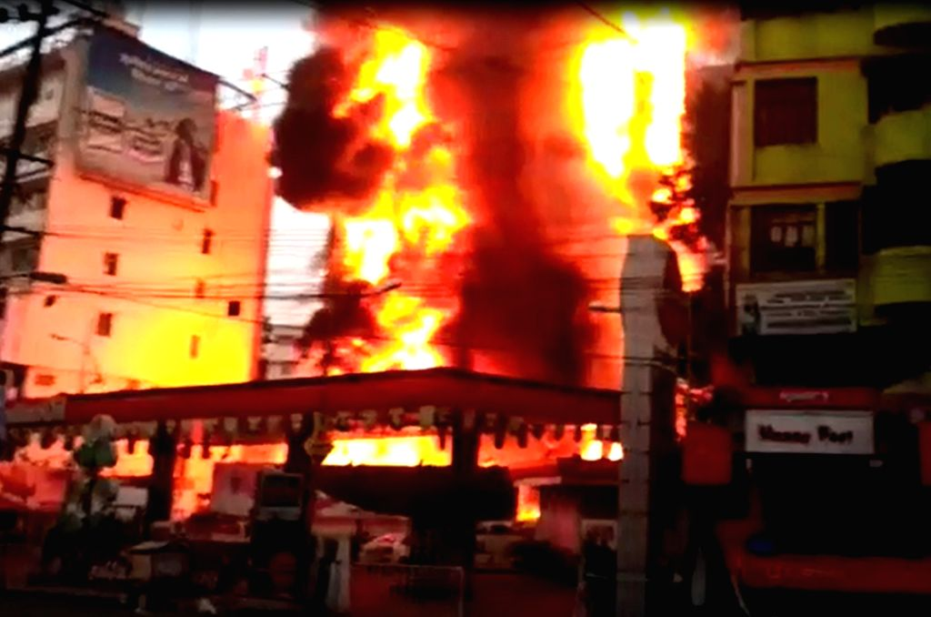 Fire broke out at a shopping mall located at Boring Road in Patna on May 20, 2017.