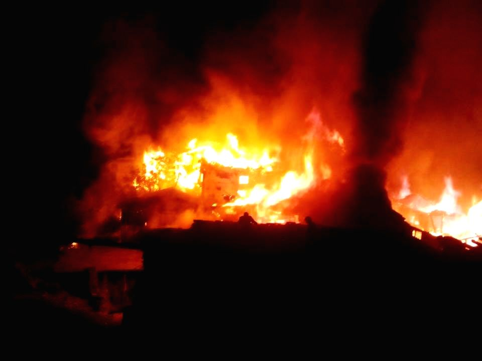 Fire broke out at Kotla village in Banjar subdivision of Kullu district where more than 50 houses and an ancient temple were gutted on Nov 15, 2015.