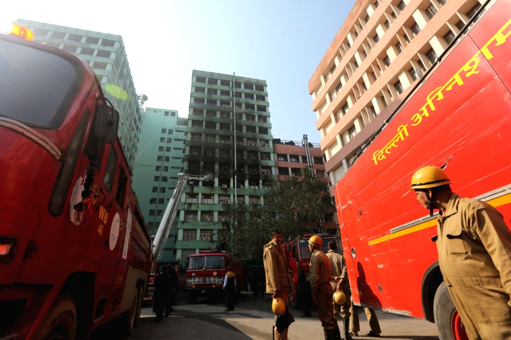 Fire engines parked outside Pandit Deendayal Antyodaya Bhawan, formerly known as Paryavaran Bhawan where a fire broke out killing a CISF trooper and gutting important government documents, ...