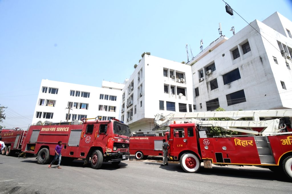 Fire engines parked outside Punjab National Bank's Zonal Office in Chanakya Tower where a fire broke out, in Patna on May 21, 2019.