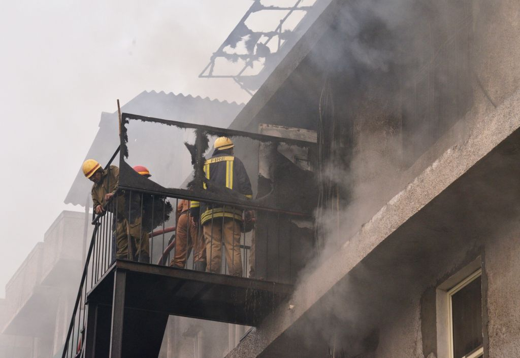 Fire fighters douse a fire that broke out at a factory in Naraina Industrial area Phase-1 of Delhi on Feb 14, 2019.