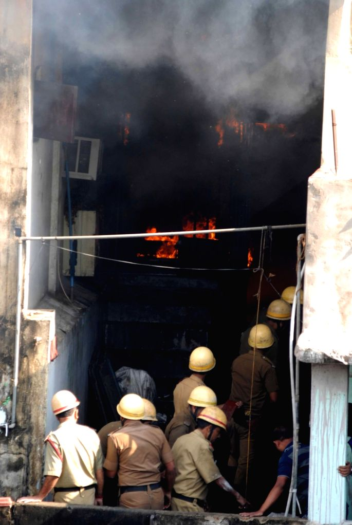Fire fighters douse a fire that broke out at a garment warehouse in Kolkata's Chitpur on March 2, 2019.