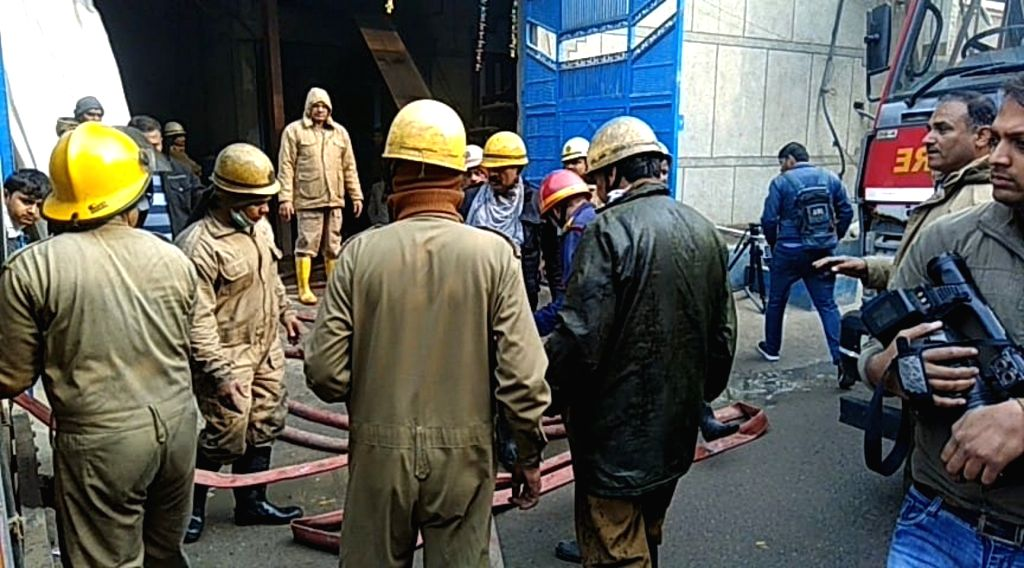Fire tenders at the factory in Delhi's Narela industrial area where a fire broke out in New Delhi, on Feb 19, 2019. The cause of the blaze is under probe.