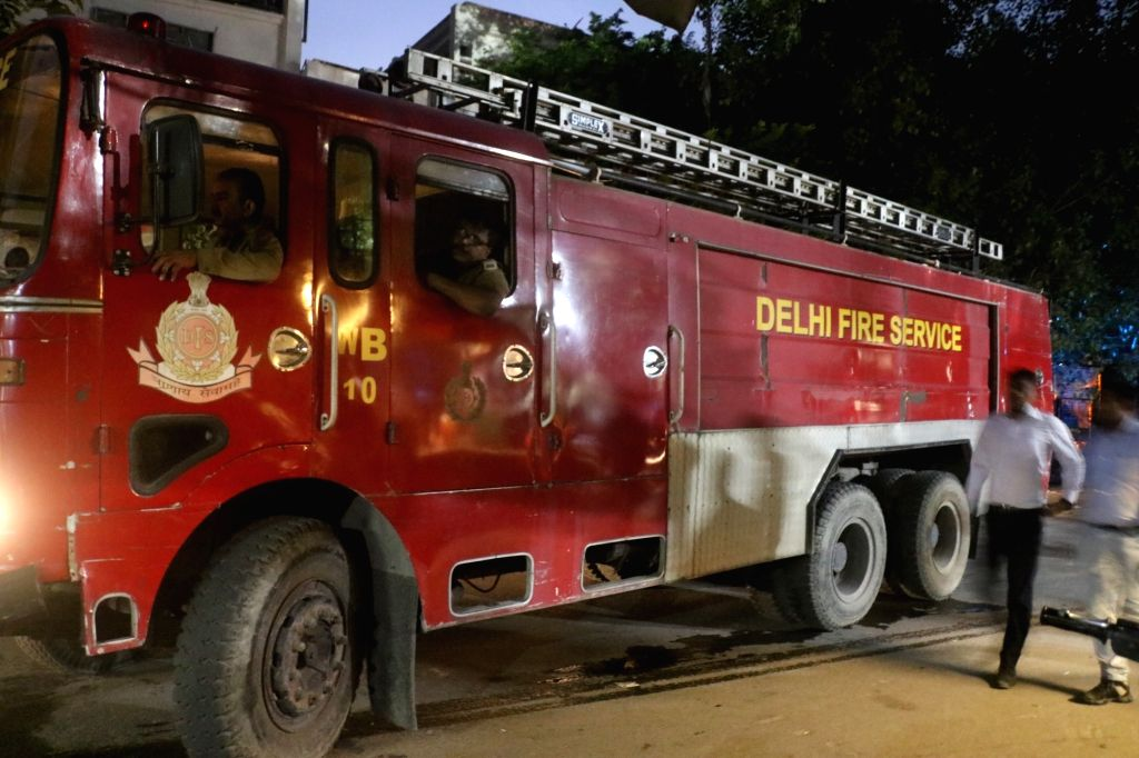 Fire tenders outside Vikas Bhawan where a fire broke out on Aug 27, 2019. According to a senior fire official, the fire broke out on the second floor at the office of the Delhi Commission ...