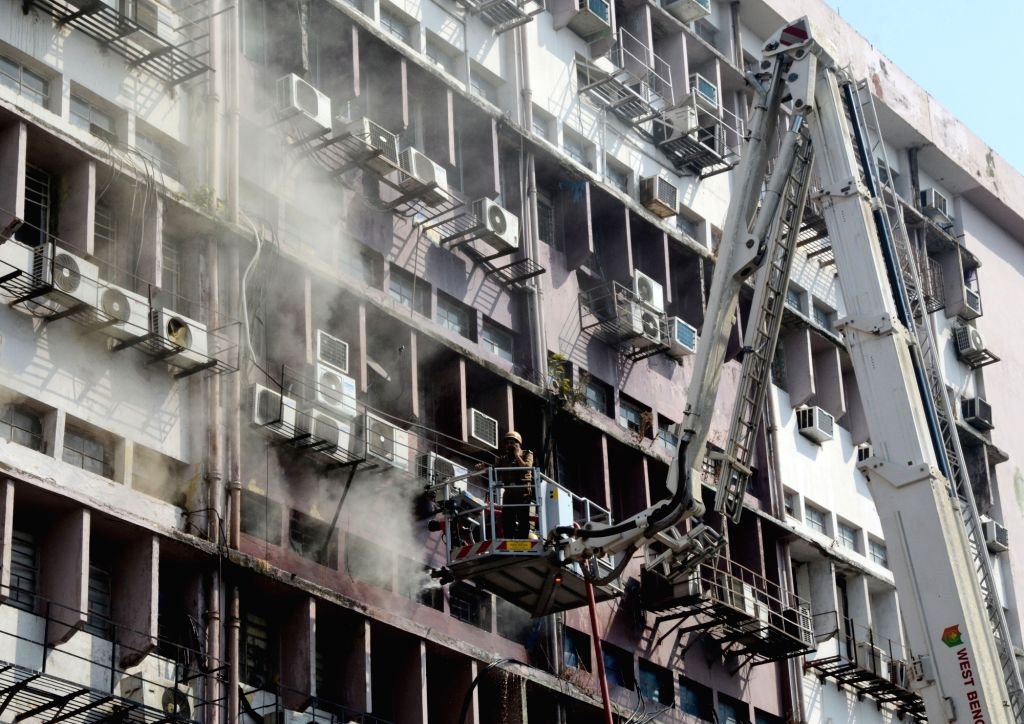 Firefighters douse a fire that broke out at SDF building in Kolkata's Salt Lake on Jan 30, 2019.