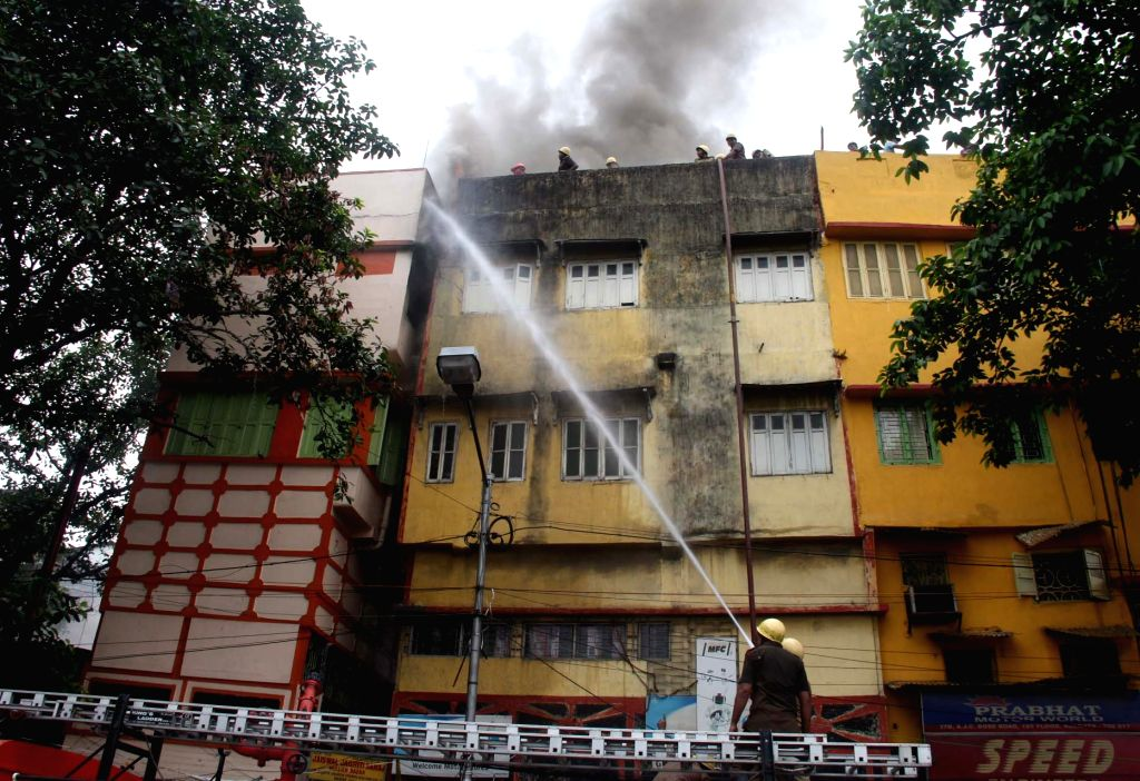 Firefighters douse fire that broke out at a godown in Kolkata on May 23, 2018.