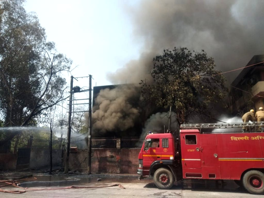Firefighting operations underway after a major fire engulfed a chemical factory in Naraina, New Delhi on April 29, 2019.
