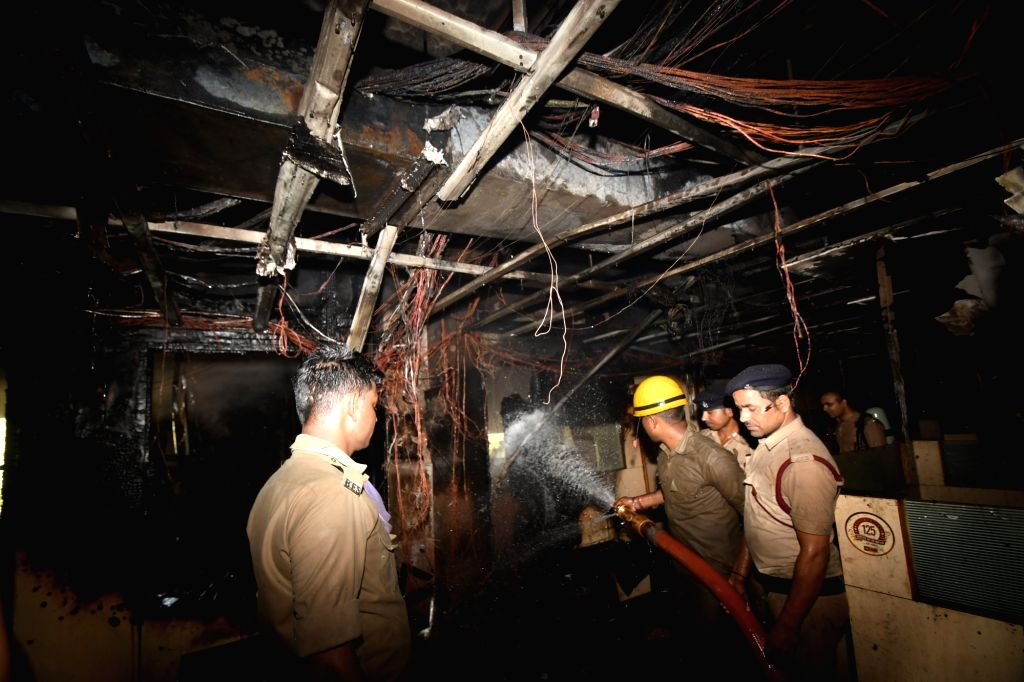 Firefighting operations underway at Punjab National Bank's Zonal Office in Chanakya Tower where a fire broke out, in Patna on May 21, 2019.