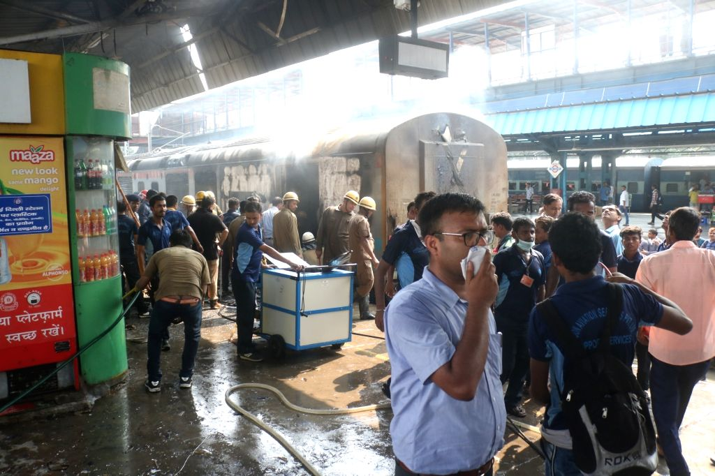 Firefighting operations underway at the New Delhi railway station where a fire broke out in the rear power car of the Chandigarh-Kochuvalli Express, on Sep 6, 2019. No one was injured in ...