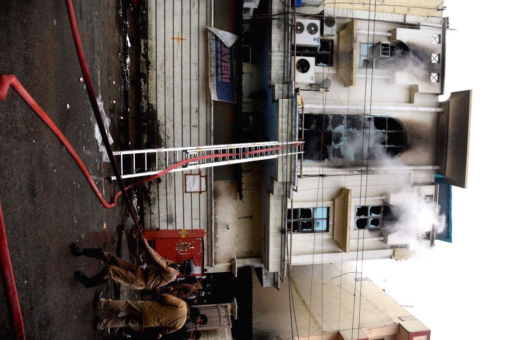 Firefighting operations underway at the three-storeyed printing press where fire claimed a life in the Patparganj industrial area of New Delhi on Jan 9, 2020. The fire broke out at the ...