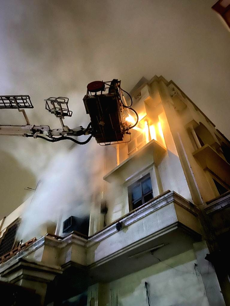 Firefighting operations underway in a three-storeyed printing press in the Patparganj industrial area of New Delhi where fire claimed a life, on Jan 9, 2020.